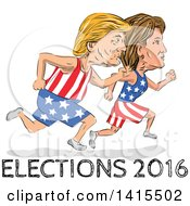 Clipart Of Sketched Caricatures Of Hillary Clinton And Donald Trump Running For The Presidency With Elections 2016 Text Royalty Free Vector Illustration
