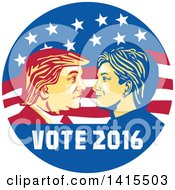 Clipart Of A Retro Profile Portrait Of Donald Trump And Hillary Clinton Facing Off In An American Flag Circle With Text Royalty Free Vector Illustration by patrimonio
