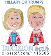 Clipart Of Sketched Caricatures Of Hillary Clinton And Donald Trump As Wrestlers Or Luchadors With Text Royalty Free Vector Illustration