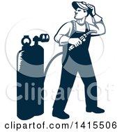 Retro Full Length Male Welder Looking Back Over His Shoulder In Navy Blue