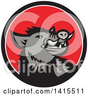Clipart Of A Retro Cartoon Angry Gray Boar In A Black White And Red Circle Royalty Free Vector Illustration