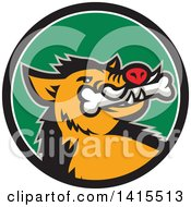 Clipart Of A Retro Cartoon Wild Boar Pig With A Bone In Its Mouth Inside A Black White And Green Circle Royalty Free Vector Illustration