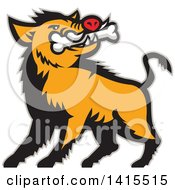 Clipart Of A Retro Cartoon Wild Boar Pig With A Bone In Its Mouth With A Gray Outline Royalty Free Vector Illustration