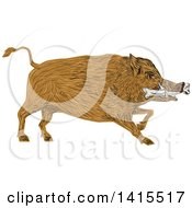 Sketched Wild Boar Pig With A Bone In Its Mouth