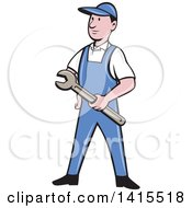 Clipart Of A Retro Cartoon White Handy Man Or Mechanic Holding A Wrench Royalty Free Vector Illustration by patrimonio
