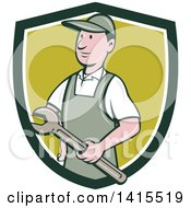 Clipart Of A Retro Cartoon White Handy Man Or Mechanic Holding A Wrench In A Blue White And Green Shield Royalty Free Vector Illustration