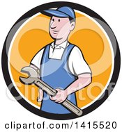Clipart Of A Retro Cartoon White Handy Man Or Mechanic Holding A Wrench In A Blue White And Orange Circle Royalty Free Vector Illustration