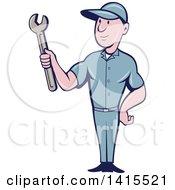 Poster, Art Print Of Retro Cartoon White Handy Man Or Mechanic Holding A Spanner Wrench