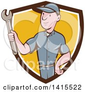 Clipart Of A Retro Cartoon White Handy Man Or Mechanic Holding A Spanner Wrench In A Blue White And Yellow Shield Royalty Free Vector Illustration
