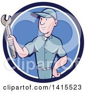 Clipart Of A Retro Cartoon White Handy Man Or Mechanic Holding A Spanner Wrench In A Blue And White Circle Royalty Free Vector Illustration