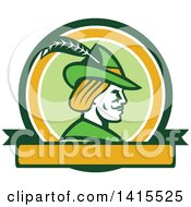 Clipart Of A Retro Profile Of Robin Hood Wearing A Plumed Hat In A Circle Royalty Free Vector Illustration