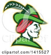 Retro Profile Of Robin Hood Wearing A Plumed Hat