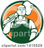 Clipart Of A Cartoon Male Locksmith Carrying A Giant Gold Key Over His Shoulder In A Green White And Orange Circle Royalty Free Vector Illustration by patrimonio