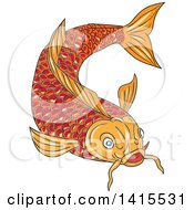 Clipart Of A Sketched Orange Koi Fish Swimming Royalty Free Vector Illustration