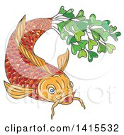 Clipart Of A Sketched Orange Koi Fish With A Tail Made Of Micro Greens Royalty Free Vector Illustration