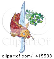 Clipart Of A Sketched Koi Carp Fish With A Tail Of Micro Greens Swimming Around A Knife Royalty Free Vector Illustration