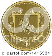 Clipart Of A Retro Medallion Of A Horseback Knight In Full Armor Holding A Lance Royalty Free Vector Illustration