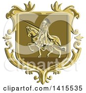 Clipart Of A Retro Coat Of Arms Of A Horseback Knight In Full Armor Holding A Lance Royalty Free Vector Illustration