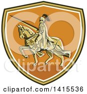 Clipart Of A Retro Horseback Knight In Full Armor Holding A Lance In A Shield Royalty Free Vector Illustration