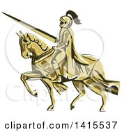 Retro Horseback Knight In Full Armor Holding A Lance