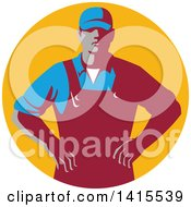 Clipart Of A Retro Male Farmer With Hands On His Hips In An Orange Circle Royalty Free Vector Illustration