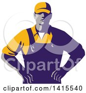 Clipart Of A Retro Male Farmer With Hands On His Hips Royalty Free Vector Illustration