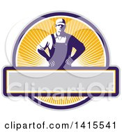 Clipart Of A Retro Male Farmer With Hands On His Hips In An Orange Sunny Circle Royalty Free Vector Illustration