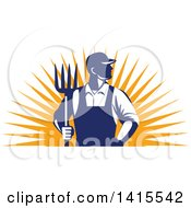Clipart Of A Retro Male Farmer Or Worker Standing With One Hand In His Pocket And One Hand Holding A Pitchfork Over An Orange Sun Burst Royalty Free Vector Illustration