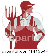 Clipart Of A Retro Male Farmer Or Worker Standing With One Hand In His Pocket And One Hand Holding A Pitchfork Royalty Free Vector Illustration