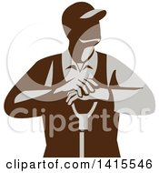 Clipart Of A Retro Male Farmer Leaning On A Shovel Looking To The Side Royalty Free Vector Illustration by patrimonio