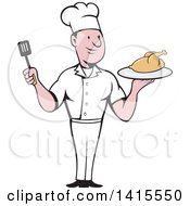 Clipart Of A Retro Cartoon White Male Chef Holding A Spatula And Serving A Roasted Chicken Royalty Free Vector Illustration