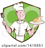 Retro Cartoon White Male Chef Holding A Spatula And Serving A Roasted Chicken In A Black And Green Shield