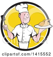 Clipart Of A Retro Cartoon White Male Chef Holding A Spatula And Serving A Roasted Chicken In A Black White And Yellow Circle Royalty Free Vector Illustration