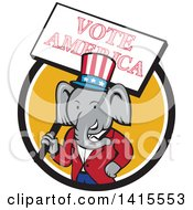 Clipart Of A Retro Cartoon Political Republican Elephant Holding A Vote American Sign In A Black White And Yellow Circle Royalty Free Vector Illustration