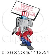 Clipart Of A Retro Cartoon Political Republican Elephant Holding A Vote American Sign Royalty Free Vector Illustration