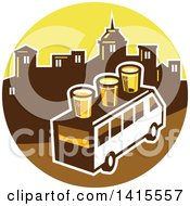 Clipart Of A Retro Brew Tour Bus With Glasses On The Roof In A Town Skyline Circle Royalty Free Vector Illustration