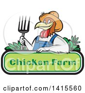 Retro Cartoon Farmer Rooster Man Wearing Overalls And A Straw Hat Holding A Pitchfork Over A Chicken Farm Sign