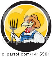 Clipart Of A Retro Cartoon Farmer Rooster Chicken Man Wearing Overalls And A Straw Hat Holding A Pitchfork In A Black White And Yellow Circle Royalty Free Vector Illustration