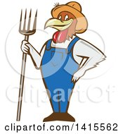 Clipart Of A Retro Cartoon Farmer Rooster Chicken Man Wearing Overalls And A Straw Hat Holding A Pitchfork Royalty Free Vector Illustration