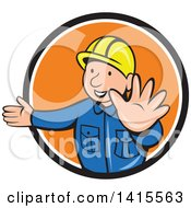 Retro Cartoon Happy Male Builder Presenting And Gesturing To Stop In A Black White And Orange Circle