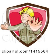 Retro Cartoon Happy Male Builder Presenting And Gesturing To Stop In A Brown White And Pink Shield