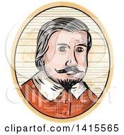 Clipart Of A Retro Sketched Medieval Aristocrat Gentleman Portrait Royalty Free Vector Illustration by patrimonio