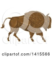 Clipart Of A Sketched Charging Angry Bison In Profile Royalty Free Vector Illustration