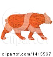 Clipart Of A Sketched American Black Bear Walking Royalty Free Vector Illustration by patrimonio