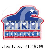 Clipart Of A Silhouetted Bald Eagle Head With Patriot Text In Red White Gray And Blue Royalty Free Vector Illustration