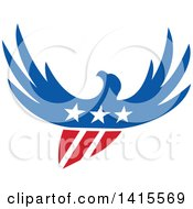 Clipart Of A Silhouetted Flying American Bald Eagle In Red White And Blue With A Shield Body And Stars On Its Chest Royalty Free Vector Illustration