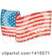 Clipart Of A Waving American Flag With Grunge Splatters Royalty Free Vector Illustration