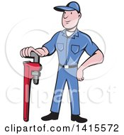 Clipart Of A Retro Cartoon White Male Plumber Or Handy Man Standing And Leaning On A Giant Monkey Wrench Royalty Free Vector Illustration