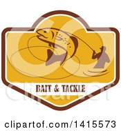 Clipart Of A Retro Silhoeutted Wading Fisherman Reeling In A Jumping Trout In A Yellow Crest Over Bait And Tackle Text Royalty Free Vector Illustration