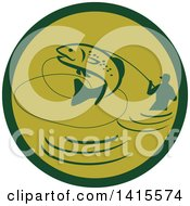 Clipart Of A Retro Silhoeutted Wading Fisherman Reeling In A Jumping Trout In A Green Circle Royalty Free Vector Illustration by patrimonio